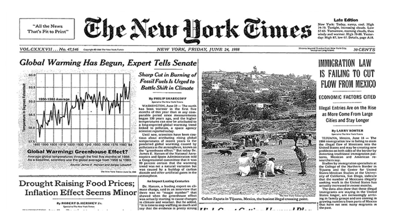 Front page of the New York Times from Friday June 24th 1988 with a lead story titled 'Global warming has begunm tells senate'