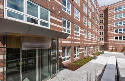 Esteves Hall front entrance, HBS Executive Education Complex