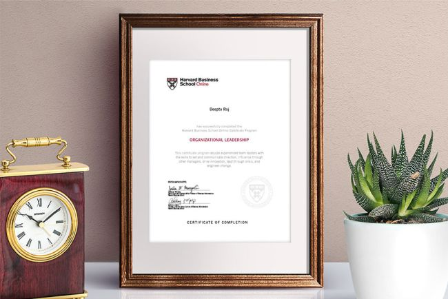Organizational Leadership Certificate of Completion from Harvard Online