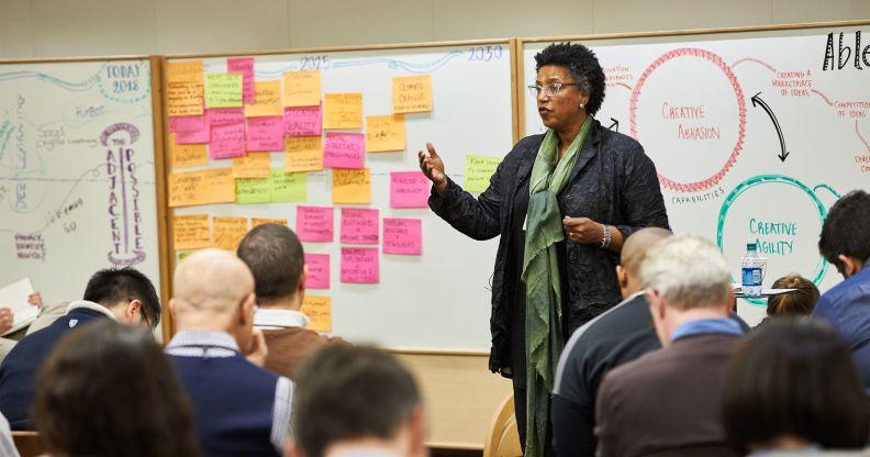 Professor Linda Hill teaching an executive education class