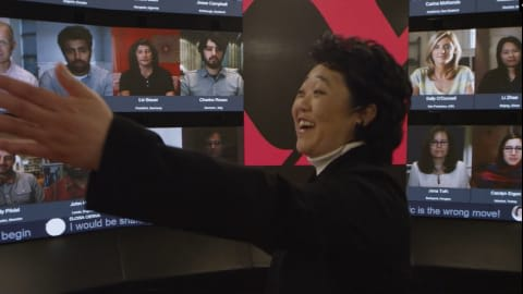 Youngme Moon teaching in the HBSonline studio
