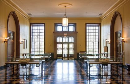 Strategy topic image, Baker Library main lobby, HBS campus