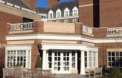 McArhur Hall front entrance, HBS Executive Education Complex