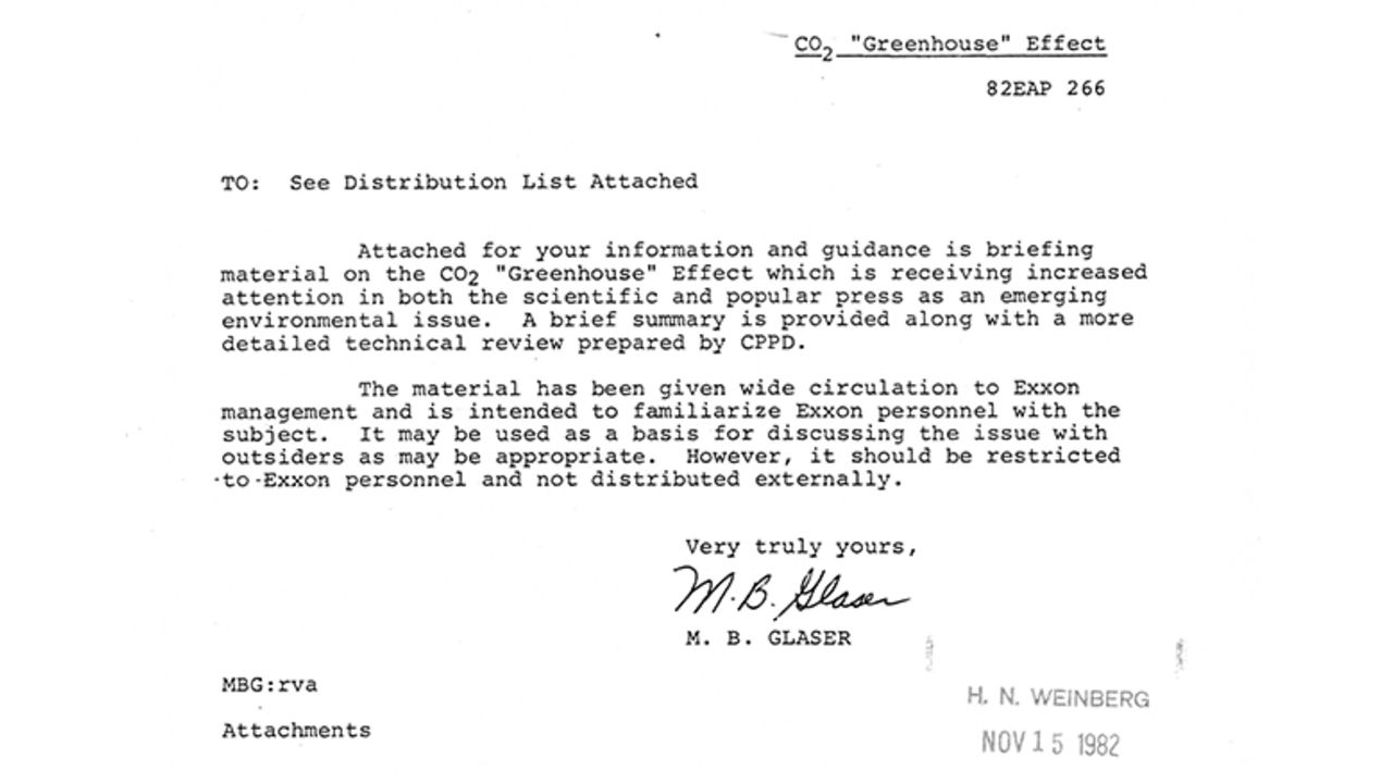 Typed letter from November 15th 1982 discussing briefing material on the CO2 greenhouse effect. The material was provided to Exxon management.