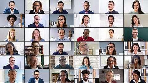 36 video conference squares showing diverse executives