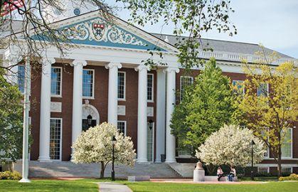 Entrepreneurship topic image, Baker Library pillared entrance HBS campus