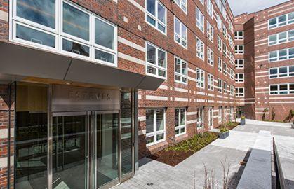 Esteves Hall front entrance, HBS Executive Education Complex
