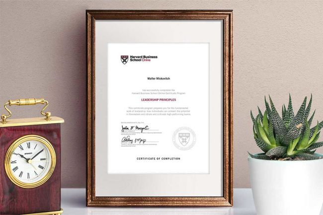 Leadership Princples Certificate of Completion from HBS Online