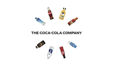 he Coca-Cola Company logo surrounded by 8 beverage product bottles
