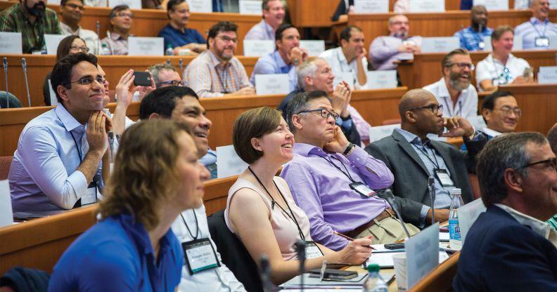 animated Harvard executive education participants in classroom