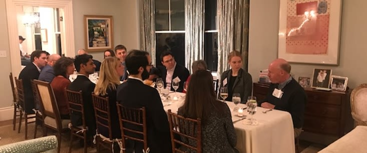 """Boston-based alumni discuss income inequality, the merits of capitalism and the social contract at Business & Society """"Jeffersonian"""" Dinner Series"""
