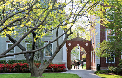 Marketing and Sales topic image; HBS campus early Spring